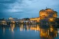 Картинка Мост Святого Ангела, Замок Святого Ангела, отражение, Италия, огни, серые облака, Рим