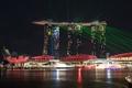 Картинка свет, огни, цвет, Сингапур, лазеры, отель, гостиница