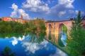 Картинка небо, облака, деревья, мост, река, башня, дома