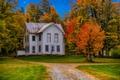 Картинка осень, деревья, дом, США, Франклин, штат Нью-Йорк