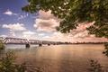 Картинка мост, река, водоем, железнодорожный
