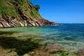 Картинка море, небо, скалы, берег, Англия, Dartmouth