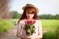 Картинка лето, девушка, розы, азиатка