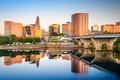 Картинка вода, отражение, дома, США, набережная, Connecticut, Hartford