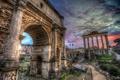 Картинка небо, облака, Рим, Италия, арка, колонны, руины