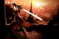 Картинка город, замок, меч, sword, охотник, Dante, красный плащ
