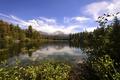 Картинка лес, облака, деревья, горы, озеро, Калифорния, США