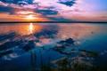 Картинка закат, облака, Солнце, небо, восход, вода, водоем