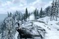 Картинка холод, зима, дорога, игра, человек, ели, The Elder Scrolls V Skyrim