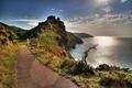 Картинка море, скалы, побережье, дорожка, Великобритания, лучи солнца, Exmoor National Park