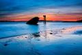 Картинка закат, облака, небо, отлив, остов, море