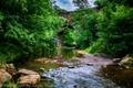 Картинка деревья, мост, ручей, камни, Англия, обработка, арка