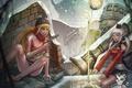 Картинка зима, снег, пистолет, девушки, магия, эльф, заклинание