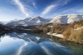 Картинка зима, небо, снег, деревья, пейзаж, горы, озеро