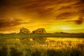 Картинка небо, тучи, камни, скалы, болото, луг