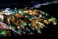 Картинка море, ночь, огни, дома, Санторини, Греция, остров Тира