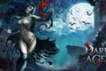 Картинка ночь, замок, летучие мыши, Dark Age, девушка вампир