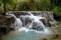 Картинка лес, тропики, камни, водопад, джунгли, кусты, Kuang Si Falls