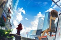 Картинка небо, кот, девушка, облака, город, дома, аниме