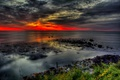 Картинка море, небо, облака, тучи, камни, берег, hdr