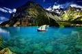 Картинка небо, горы, озеро, лодка, ящерица, домики