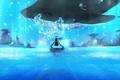 Картинка вода, девушка, скалы, русалка, кораллы, кит, медузы