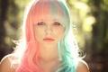 Картинка волосы, цветные, Julia, боке, солнечный свет