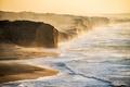 Картинка пейзаж, берег, туман, природа, скалы, утро, море