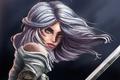 Картинка оружие, Cirilla, зеленые глаза, Witcher 3: Wild Hunt, взгляд