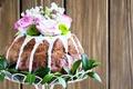 Картинка цветы, розы, пасха, кулич, выпечка, глазурь, Easter