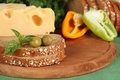 Картинка сыр, хлеб, перец, оливки, ломтики, продукты