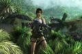 Картинка девушка, самолет, шорты, джунгли, автомат, динозавры, Tomb Raider