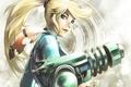 Картинка девушка, оружие, арт, хвостик, Metroid, Samus