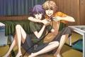 Картинка комната, кровать, смех, парни, играют, Shiki, Mutou Toru