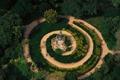 Картинка деревья, Франция, спираль, дорожка, беседка, Иль-де-Франс, ботанический сад