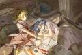 Картинка девушки, книги, крылья, аниме, арт, кристаллы, записи