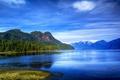 Картинка лес, небо, деревья, горы, озеро, голубое, берег