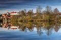 Картинка осень, деревья, озеро, дома, Германия, Бавария, Фюссен