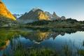 Картинка камыши, озеро, скалы, отражение, горы