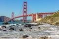 Картинка волны, пролив, камни, скалы, Сан-Франциско, США, мост Золотые Ворота