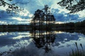 Картинка небо, облака, деревья, озеро, вечер