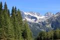 Картинка лес, деревья, горы, ледник, ущелье, USA, Glacier