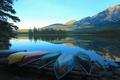 Картинка пейзаж, горы, озеро, лодки