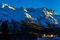 Картинка небо, деревья, закат, горы, дома