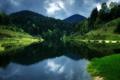 Картинка небо, облака, деревья, озеро, отражение, Австрия, зеркало