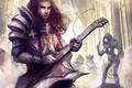 Картинка девушка, музыка, гитара, микрофон, парень, Diablo III, fan art