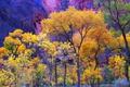 Картинка осень, деревья, скала, гора, Юта, США, Zion National Park