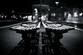 Картинка light, bokeh, shadows, benches, grayscale