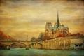 Картинка небо, птицы, мост, река, Франция, Париж, Сена