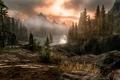 Картинка камни, река, деревья, горы, пейзаж, skyrim